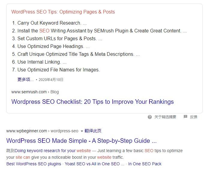 Google SEO搜索结果第一和第二