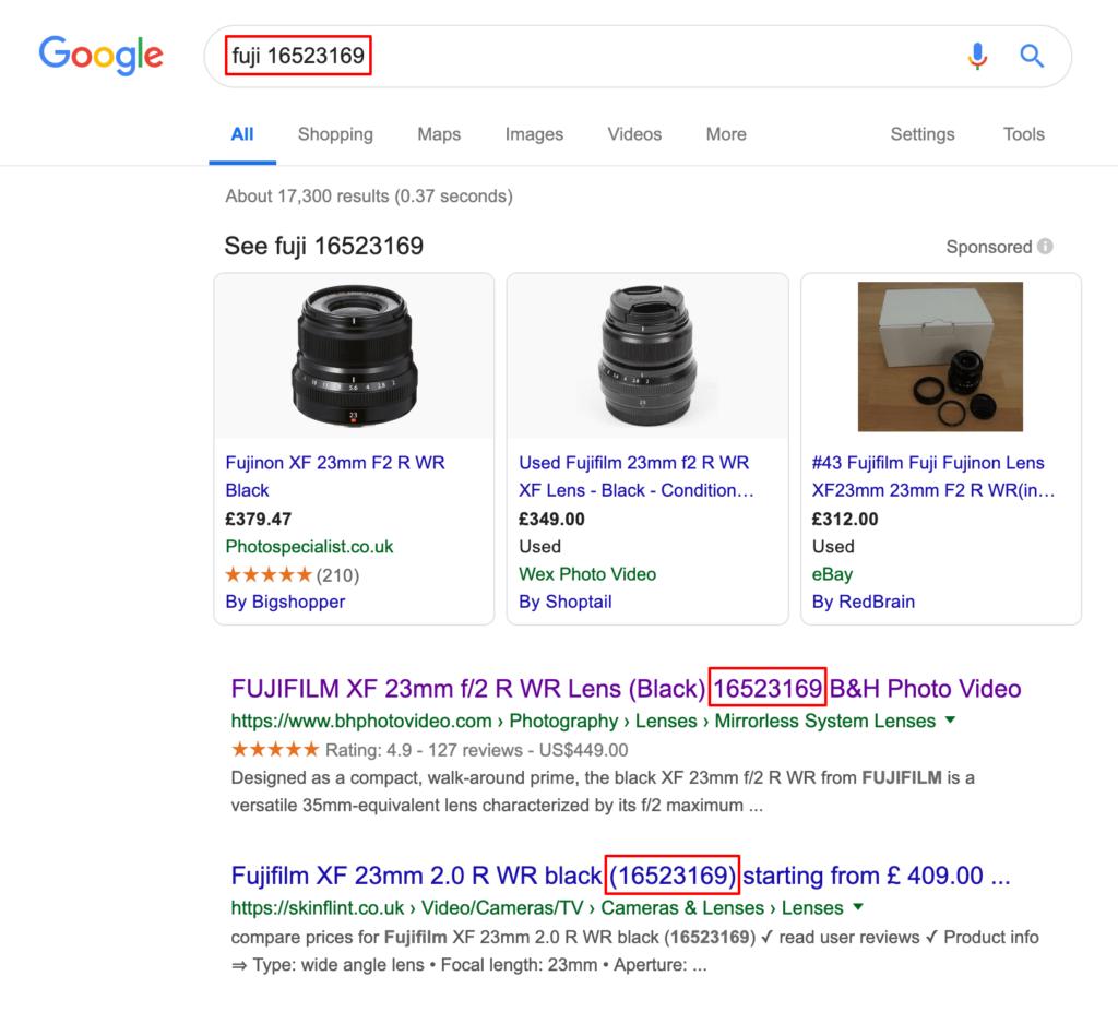 SKU in google search result